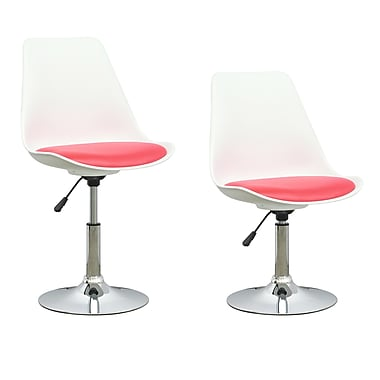 CorLiving Adjustable Chair in White with Red Leatherette Seat, 2/Pack (DAB-250-C)