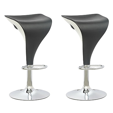CorLiving DPV-405-B Adjustable Two Toned Barstool in Black and White, Set of 2