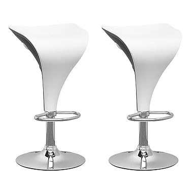 CorLiving DPV-415-B Adjustable Two Toned Barstool in White and Black, Set of 2