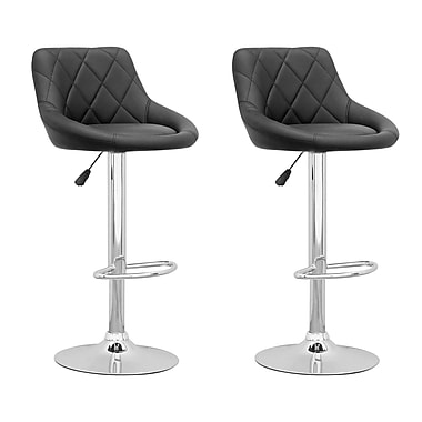 CorLiving DPV-507-B Adjustable Diamond Back Barstool in Black Leatherette, Set of 2