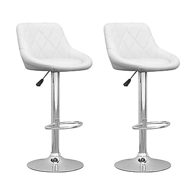 CorLiving DPV-517-B Adjustable Diamond Back Barstool in White Leatherette, Set of 2