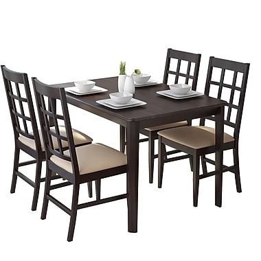 CorLiving – Ensemble de salle à manger 5 pièces DRG-695-Z de la collection Atwood avec sièges en similicuir gris galet