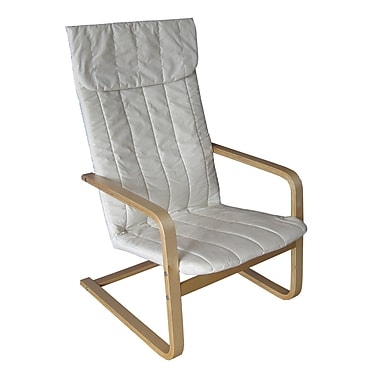 CorLiving LDQ-968-C Aquios Bentwood High Back Armchair in Eggshell White