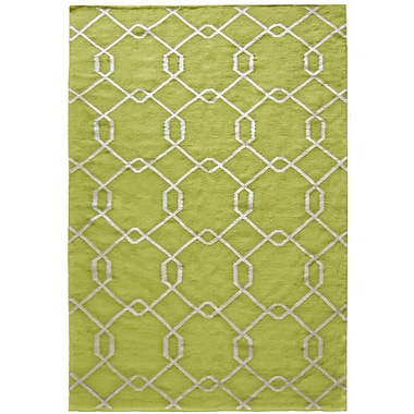 Lanart Diamond Flat Weave Area Rug, 5' x 7', Green