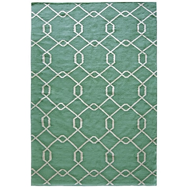 Lanart Diamond Flat Weave Area Rug, 8' x 10', Teal