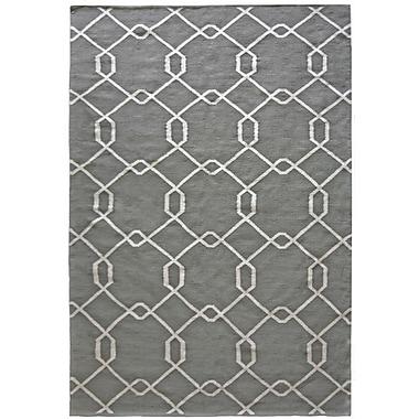 Lanart Diamond Flat Weave Area Rug, 5' x 7', Grey