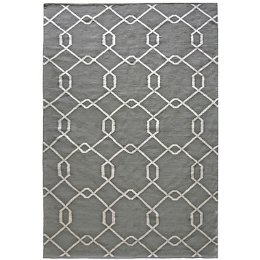 Lanart Diamond Flat Weave Area Rug, 8' x 10', Grey