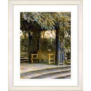 Studio Works Modern ''Garden Bench'' by Mia Singer Framed Painting Print; Creamy White