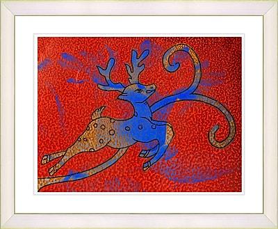 Studio Works Modern ''Reindeer - Red'' by Zhee Singer Framed Graphic Art in Red; Creamy White