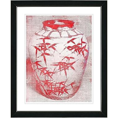 Studio Works Modern ''Bamboo Urn - Red'' by Zhee Singer Framed Graphic Art in Red; Satin Black