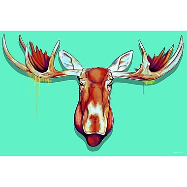 Maxwell Dickson ''Moose Head'' Graphic Art on Canvas; 40'' H x 60'' W