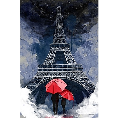 Maxwell Dickson ''Rainy Night in Paris'' Graphic Art on Wrapped Canvas; 36'' H x 24'' W