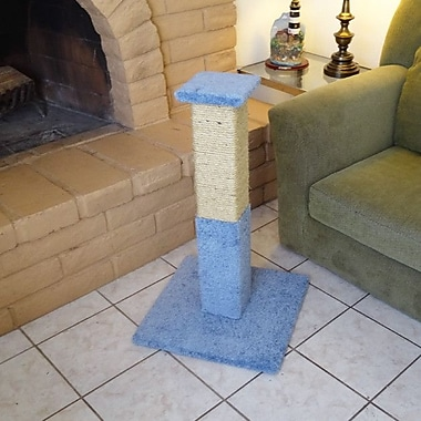 New Cat Condos 33'' Premier Solid Wood Scratching Post; Blue