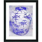Studio Works Modern ''Bamboo Urn - Blue'' by Zhee Singer Framed Painting Print; Satin Black