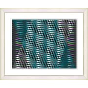 Studio Works Modern ''Placidus - Teal'' by Zhee Singer Framed Painting Print; Creamy White