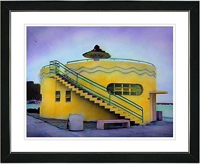 Studio Works Modern ''Yellow Beach House'' by Mia Singer Framed Painting Print; Satin Black