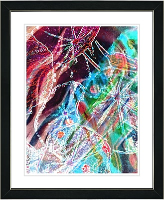 Studio Works Modern ''Right as Rain - Red'' by Zhee Singer Framed Painting Print; Satin Black
