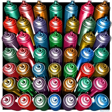 Maxwell Dickson ''Spray Cans'' Graphic Art on Canvas; 36'' H x 36'' W