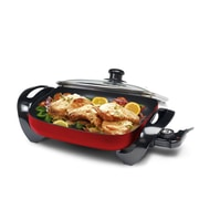 Elite by Maxi-Matic Gourmet 12'' x 12'' Electric Skillet w/ Glass Lid; Red