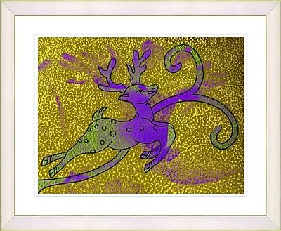 Studio Works Modern ''Reindeer - Gold'' by Zhee Singer Framed Painting Print; Creamy White
