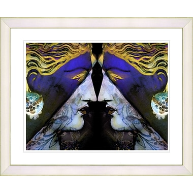 Studio Works Modern ''Enigma - Blue'' by Mia Singer Framed Painting Print; Creamy White