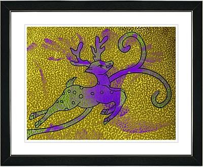 Studio Works Modern ''Reindeer - Gold'' by Zhee Singer Framed Painting Print; Satin Black