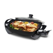 Elite by Maxi-Matic Gourmet 12'' x 12'' Electric Skillet w/ Glass Lid; Black