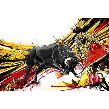 Maxwell Dickson ''Bull Fighter'' Painting Print on Canvas; 36'' H x 48'' W