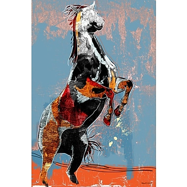 Maxwell Dickson ''Fighting Horse'' Painting Print on Wrapped Canvas; 24'' H x 36'' W