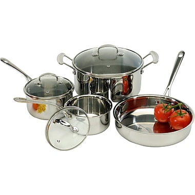 Cook Pro 7 Piece Tri-Ply Stainless Steel Cookware Set