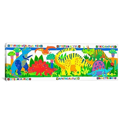 iCanvas Kids Children 'Dinosaurs' Graphic Canvas Wall Art; 16'' H x 48'' W x 1.5'' D