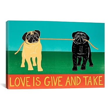 iCanvas Love Is Give and Take Black by Stephen Huneck Painting Print on Wrapped Canvas