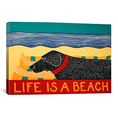 iCanvas Life Is a Beach Black by Stephen Huneck Painting Print on Wrapped Canvas