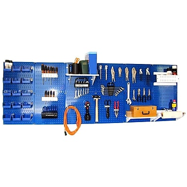 Wall Control 8' Metal Pegboard Master Workbench Kit, White Tool Board and Blue Accessories