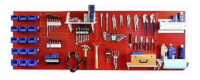 Wall Control 8' Metal Pegboard Master Workbench Kit, Red Tool Board and Blue Accessories
