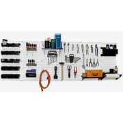 Wall Control 8' Metal Pegboard Master Workbench Kit, Gray Tool Board and White Accessories