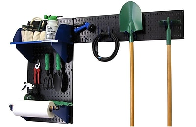 Wall Control Garden Tool Storage Organizer Pegboard Kit, Black Tool Board and Blue Accessories
