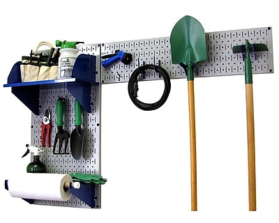 Wall Control Garden Tool Storage Organizer Pegboard Kit, Gray Tool Board and Blue Accessories