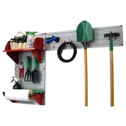 Wall Control Garden Tool Storage Organizer Pegboard Kit, Gray Tool Board and Red Accessories