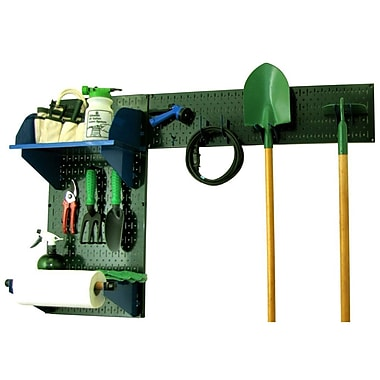 Wall Control Garden Tool Storage Organizer Pegboard Kit, Green Tool Board and Blue Accessories