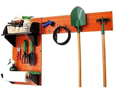 Wall Control Garden Tool Storage Organizer Pegboard Kit, Orange Tool Board and Black Accessories