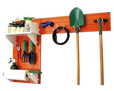 Wall Control Garden Tool Storage Organizer Pegboard Kit, Orange Tool Board and White Accessories
