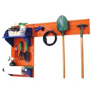 Wall Control Garden Tool Storage Organizer Pegboard Kit, Orange Tool Board and Blue Accessories