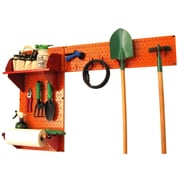 Wall Control Garden Tool Storage Organizer Pegboard Kit, Orange Tool Board and Red Accessories