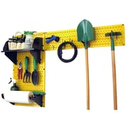 Wall Control Garden Tool Storage Organizer Pegboard Kit, Yellow Tool Board and Black Accessories