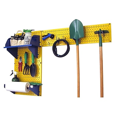Wall Control Garden Tool Storage Organizer Pegboard Kit, Yellow Tool Board and Blue Accessories