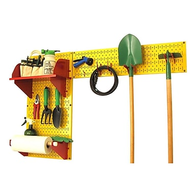 Wall Control Garden Tool Storage Organizer Pegboard Kit, Yellow Tool Board and Red Accessories