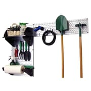 Wall Control Garden Tool Storage Organizer Pegboard Kit, Galvanized Tool Board and Black Accessories