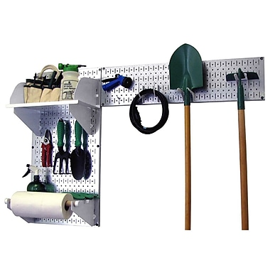 Wall Control Garden Tool Storage Organizer Pegboard Kit, Galvanized Tool Board and White Accessories