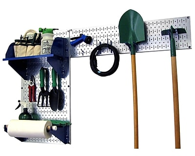 Wall Control Garden Tool Storage Organizer Pegboard Kit, Galvanized Tool Board and Blue Accessories
